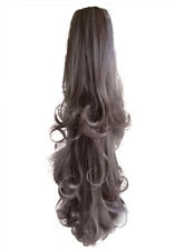 """22"""" PONYTAIL Hair Piece FALLING CURLS Light Ash Brown #10 Claw Clip"""
