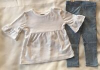 Gymboree Girls Size 2T White Top Blue Gingham Check Leggings Ruffle Sleeves New