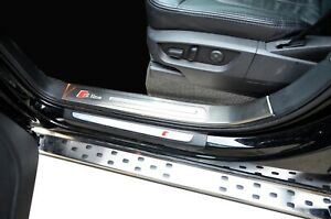 S-line Style Inner Door Sill Panel Scuff Kick Step Plate for Audi Q7 2008-15