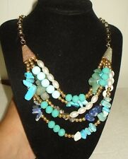 VINTAGE TURQUOISE NECKLACE BEAUTIFUL MULTI STRAND DESIGN NR