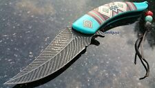 "8.25"" BLUE FEATHER SPRING ASSISTED FOLDING KNIFE Blade pocket open switch"