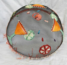 Vintage Retro Wire Mesh Decorated Food Cover Net Dome - c 1950s