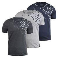 Mens T-shirt Crosshatch Newark V Neck Side Print Tee Top