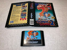 Sonic the Hedgehog 2 (Sega Genesis, 1992) Original Game Cartridge in Case Exc!