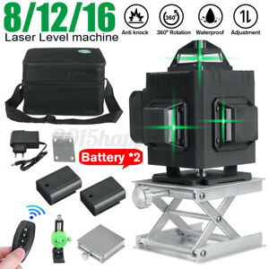 360° Rotary 3D Green Laser Level 12 Lines Self Leveling Cross Measure Tool SE