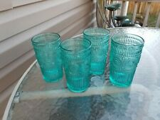 Pioneer Woman Adeline Teal Turquoise 16-Ounce Glass Tumblers Set Of 4