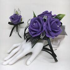 Glamour Triple Purple Foam Rose on Black  Prom Corsage & Boutonniere Combo