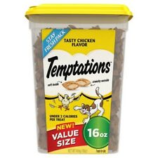 NEW TEMPTATIONS TASTY CHICKEN FLAVOR VALUE SIZE 16 OZ PACK TREATS FOR CATS CRUNC
