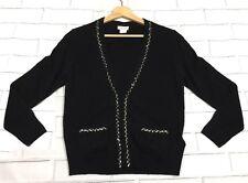 ☆ J.Crew - 100% Cashmere V neck Cardigan Sequin Embellished Sweater Black Large