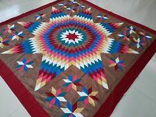 Machine pieced patchwork Star quilt top/Brown Background#J-94