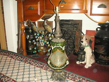 Antique Art Deco Table Lamp-Green Glass-Applied Metal Designs-Marble Base-#2