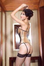 Sexy corset de fiesta, con lentejuelas, tanga y ligueros desmontables talla L