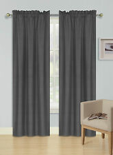 2PC Rod Pocket Light Filtering 100% Blackout Privacy Window Curtain R64 Charcoal
