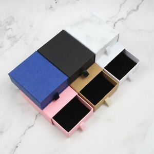 Jewellery Gift Box(9x7.3x3cm) Drawer, Black, White, Marble, Blue, Pink, Kraft AU