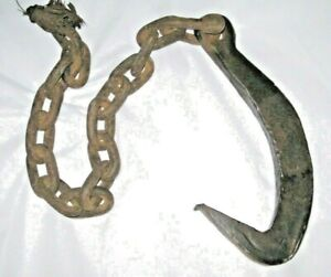 Antique OLD Vintage Hand Forged Barn HOOK Tool with Chain