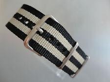 Relojes pulsera nylon negro beige 22 mm OTAN banda hebilla textil