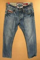 FF906 MENS SUPERDRY FADED BLUE STRAIGHT DENIM JEANS W30 L32