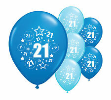 """10 x 21ST BIRTHDAY BLUE MIX 12"""" HELIUM OR AIRFILL BALLOONS (PA)"""