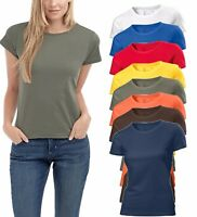 Hanes Tagless Plain Organic Cotton Ladies Womens Crew Neck Tee T-Shirt No Logo