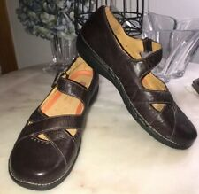 Clarks UN Structured Multi Strap Mary Jane Loafer Shoe Women's size 10 M Brown