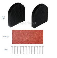 Rubber 2.8 x 3.5cm Shoe High Heel Stiletto Repair Kit 2 Caps 12 Nails Sandpaper