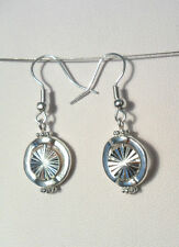 Dangle earrings - sparkly metal bead in circle frame