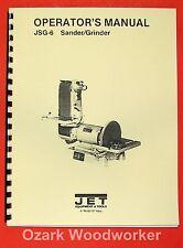 "JET/Asian JSG-6 6"" x 48"" Belt / 12"" Disc Sander Instructions & Parts Manual 0875"