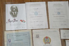 Hungary Hungarian Lot of 13 Document Same Person Army Worker Guardian Tube Medal