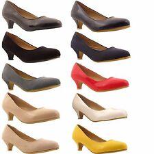 Ladies Womens Low Kitten Heel Work Court Evening Dress Girls Shoes PUMPS Size Navy Patent UK 8 BS 20