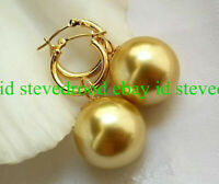 Natural 14mm Gold South Sea Shell Pearl Round Gemstone Beads Earrings AAA