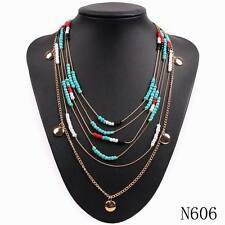 New Design Gold Plated Chain Acrylic Bead Chunky Statement Pendant Bib Necklace