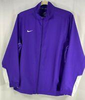 Nike Dri-Fit Team Woven Mens Purple White Full Zip Training Track Top Jacket XL