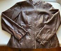 Womens Worthington  Pleather Jacket Coat Brown Zip Up  Size Large Gently Used