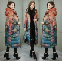 Womens Retro Floral Winter Long Floral Down Parka Trench Coat Hooded Warm Jacket