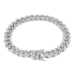 "Iced Cuban Link VVS Diamond Out Bracelet 9mm 18K White Gold Plated 7"" 8"" Rapper"