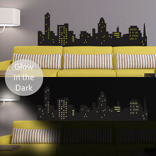 GLOW IN THE DARK SKYLINE LOUNGE KIDS ROOM WALL STICKER VINYL TRANSFER MURAL