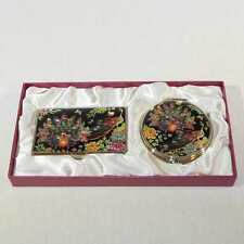 Korean Mother of Pearl Business Card Case and Mirror Set with Peacock