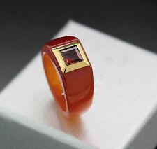 Ring Red Brown Jade 1 Garnet carréfacettiert 585 YELLOW GOLD, Value NEW