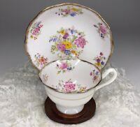 Vintage Royal Albert Crown China Floral, Gold Trim Tea Cup & Saucer Set England