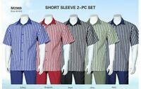 New Men's 2-PC Leisure Suit (Short Sleeve shirt & Solid Pants) Casual Shirt Set