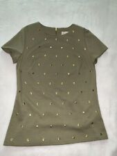 Michael Kors Army Green Gold Studded Shirt Sz:S