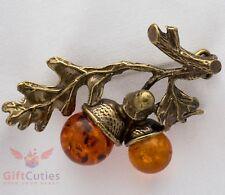 Solid Brass Amber flower Acorn tree branch Brooch IronWork