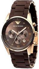 Emporio Armani AR5890 Sportivo Brown Gold Rubber Chrono Mens Watch Nuevo