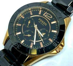Fossil CE-1007 Lady 100m Rose Gold Black Ceramic Quartz Watch Hours~New Battery