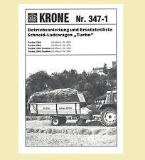 KRONE Ladewagen Turbo 2200 2800 Tandem  Betriebsanleitung Ersatzteilliste 1985