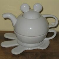 Mickey Mouse White TEA FOR ONE Teapot and Tea Cup Set