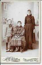 3 Kids from Quakertown Bucks County PA by Ritter c 1880s? Cabinet Card Photo