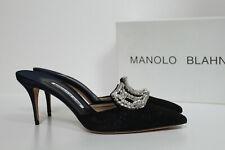 sz 8 / 38 Manolo Blahnik  Borli Blue Crystal Brooch Jewel Lace Mule Pump Shoes