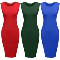 Women Casual O-neck Sleeveless Slim Fit Bodycon Tank Dress Mid Calf CLSV