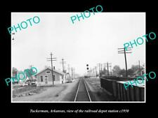 OLD LARGE HISTORIC PHOTO OF TUCKERMAN ARKANSAS THE RAILROAD DEPOT STATION c1950